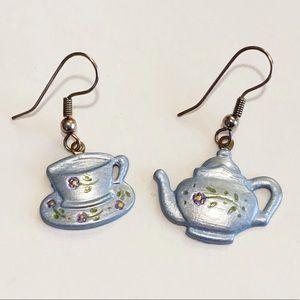 Sweet Enamel Teapot & Tea Cup Earrings